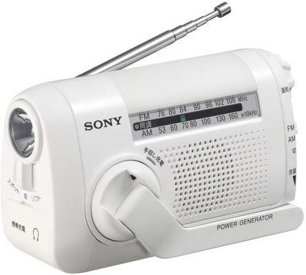 手回し給電ができるラジオ