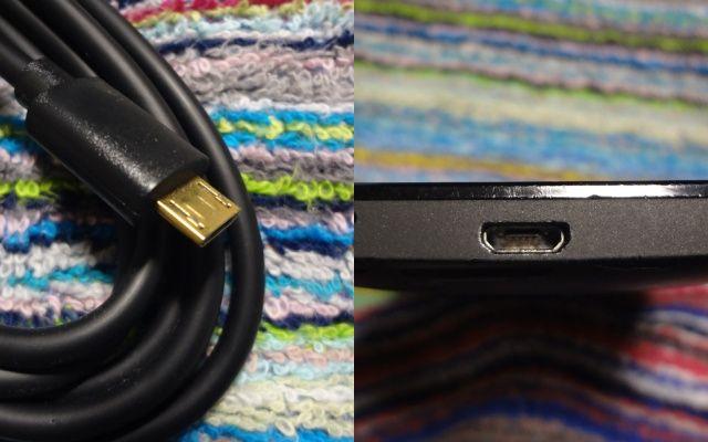 USB Micro-Bケーブルとポート