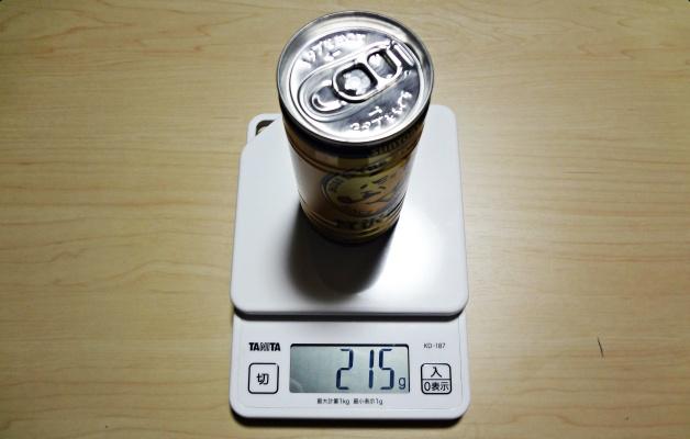 計量された215gの缶コーヒー