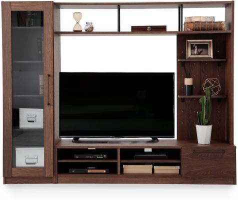 LOWYA(ロウヤ) 壁面収納付テレビ台 天然木突板使用 ヴィンテージ調 F301-G1045
