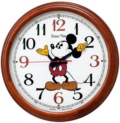 セイコークロック(SEIKO) ミッキー掛け時計 Disney Time ディズニータイム 茶木地 FW582B