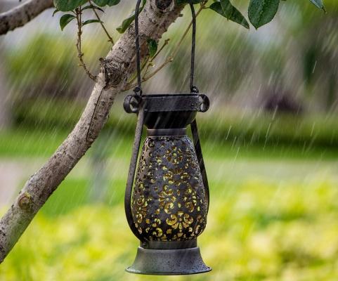 雨に濡れるソーラーライト