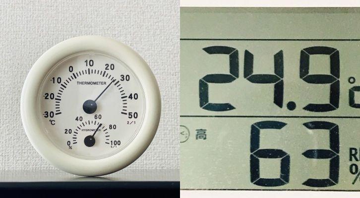 アナログ式とデジタル式の温湿度計
